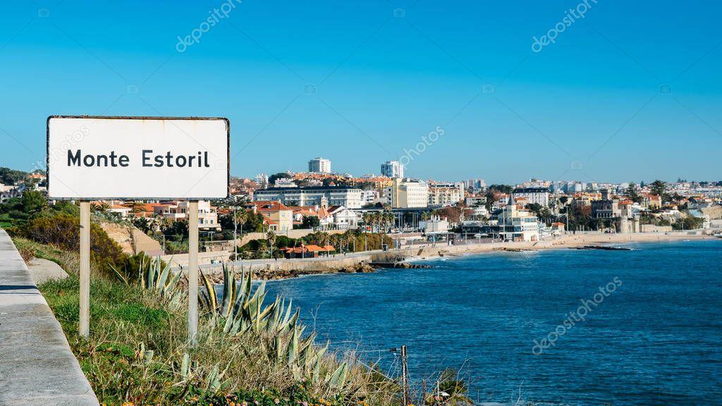 Sign entrance to the resort coastal city of Monte Estoril, near Lisbon, Portugal