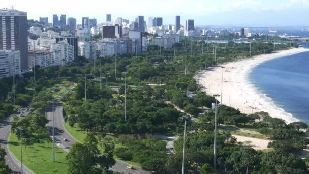 High perspective of Aterro do Flamengo and Financial District, Rio de Janeiro, Brazil