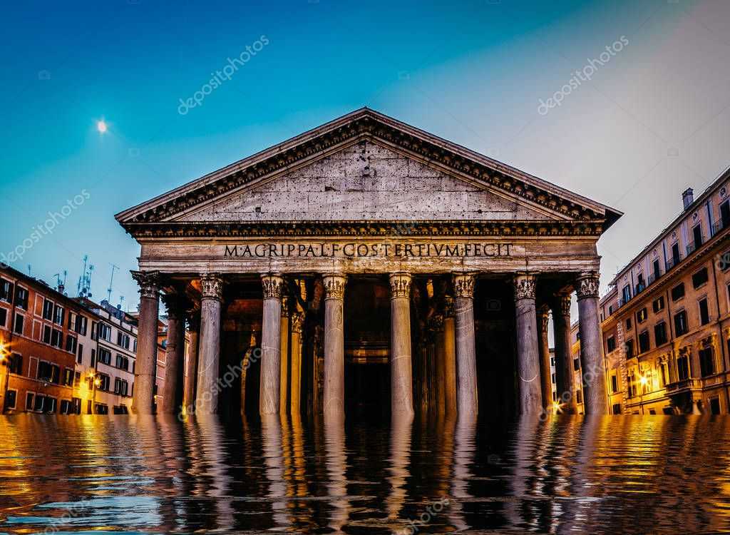 Flooded pantheon in Rome, Italy - digital manipulation climate change concept
