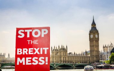 Anti-Brexit placard composite at Westminster, London, UK