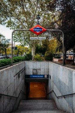 Underground enterance to Santiago Bernabeu metro station servicing the famous football stadium