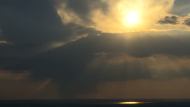 Time lapse of heavenly clouds with sun rays. Skylight, beauty.