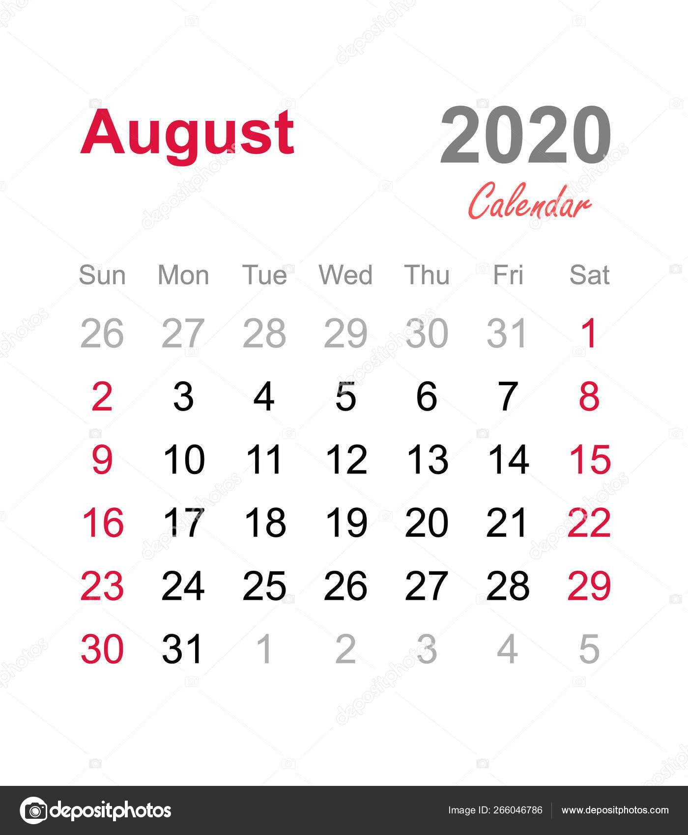 Agosto 2020 Calendario.Calendario Agosto 2020 Modello Calendario Mensile Calendario