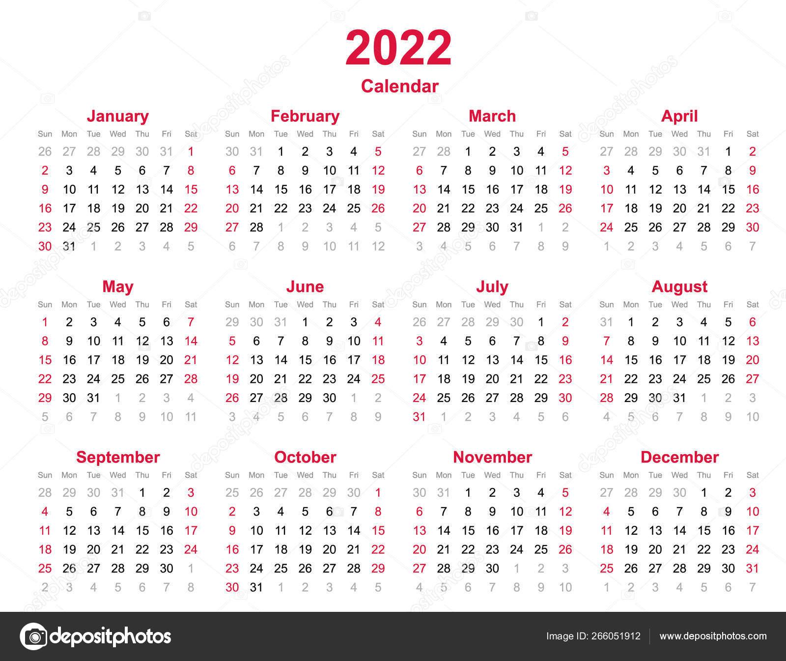 2022 Calendar Months.2022 Yearly Calendar Months Yearly Calendar Set 2022 Calendar Template Vector Image By C Khamhoung Vector Stock 266051912