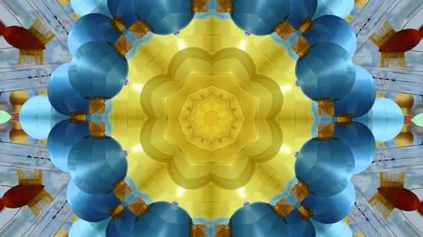 Abstraktní dynamický geometrický kaleidoskop květinový vzor pozadí v čínském stylu