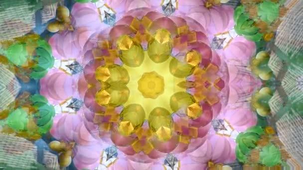 Absztrakt dinamikus geometriai Kaleidoszkóp virág mintás háttérrel