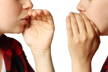 two girls, covering their mouths with their palms, whisper about something on a white isolated background, close-up, concept, isolate
