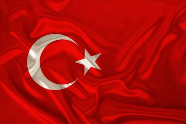 photo of the national flag of the state of Turkey on a luxurious texture of satin, silk with waves, folds and highlights, close-up, copy space, illustration