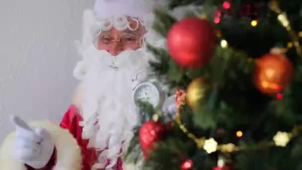 Santa Claus v červeném obleku sedí u stolu, ukazuje budík, vánoční stromek je krásně zdobené s míčky, koncept Vánoc, Nový rok oslavy, čas dovolených prodeje