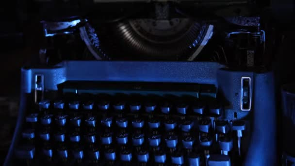 old typewriter on desk, telephone, mystery detective concept, writers work tools, blue backlight
