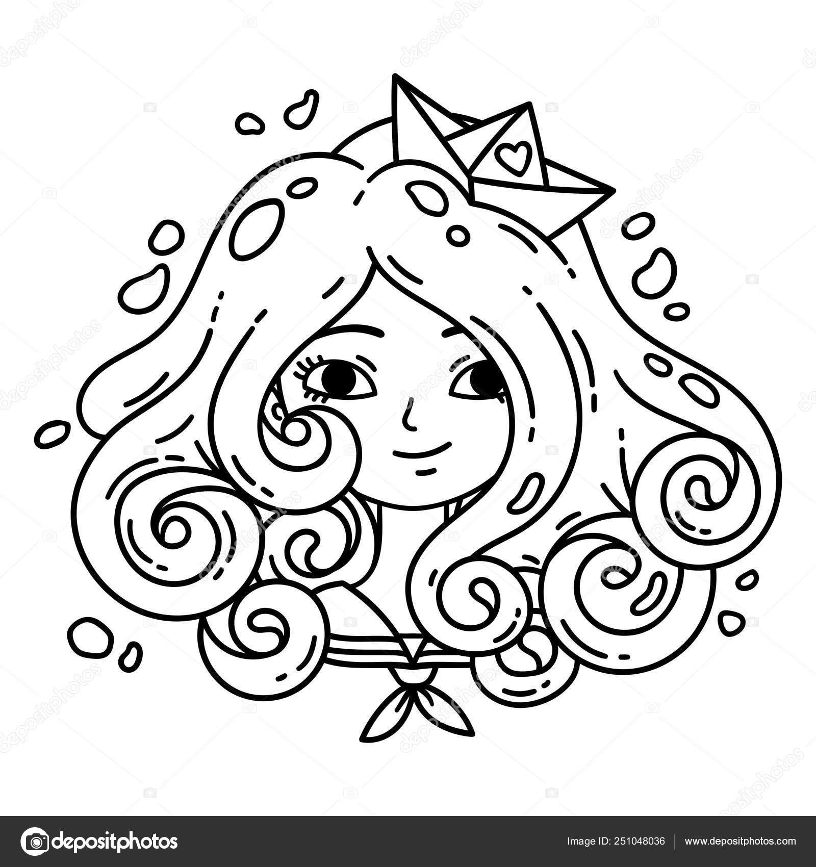 девушка с вьющимися волосами морская девушка стоковое