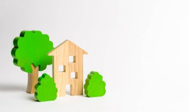 Wooden multi-storey building surrounded by bushes and trees. Urbanism and urban landscaping. Acquisition of affordable housing in a mortgage. Accommodation for young families. Apartments for rent stock vector
