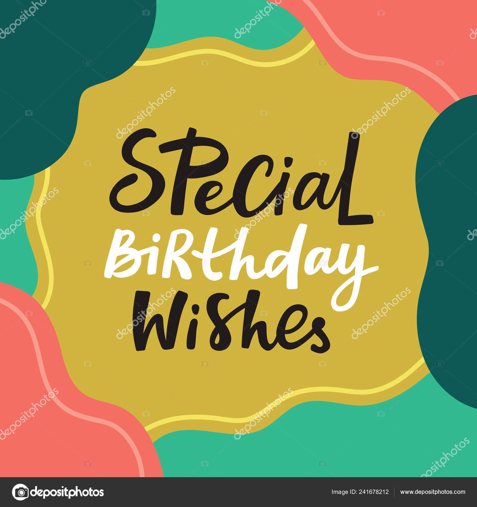 Happy Birthday Wishes Greeting Card Handdrawn Lettering Perfect Prints Social Stock Vector