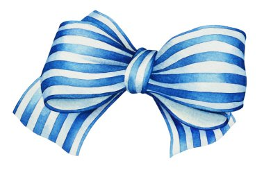 Watercolor hand drawn colorful blue with white stripes ribbon bow isolated on white background. Useful for design of birthdays, unniversary, Christmas and New Year holidays and other events.