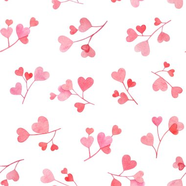 Seamless pattern with watercolor hand drawn branches with pink and red heart shaped leaves isolated on white background. Useful for design of the Valentine's day items, weddings, textile and other. stock vector