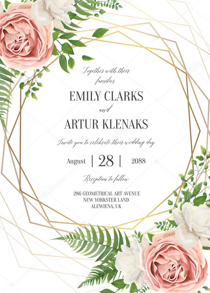 wedding floral watercolor greeting card invite date design