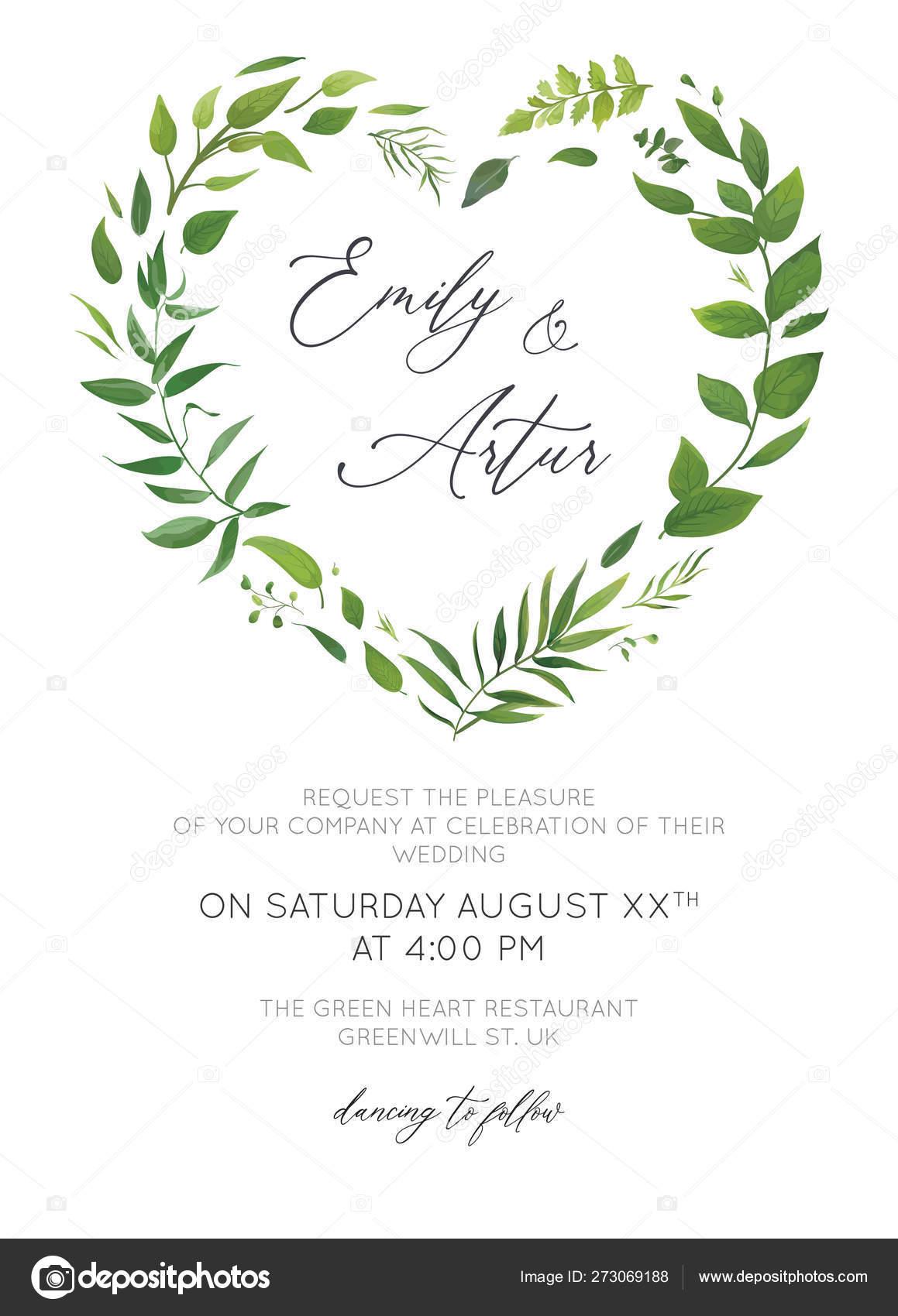 Greenery Wedding invitation Wedding invitations Botanical LEAFY Wedding invite Invitation template