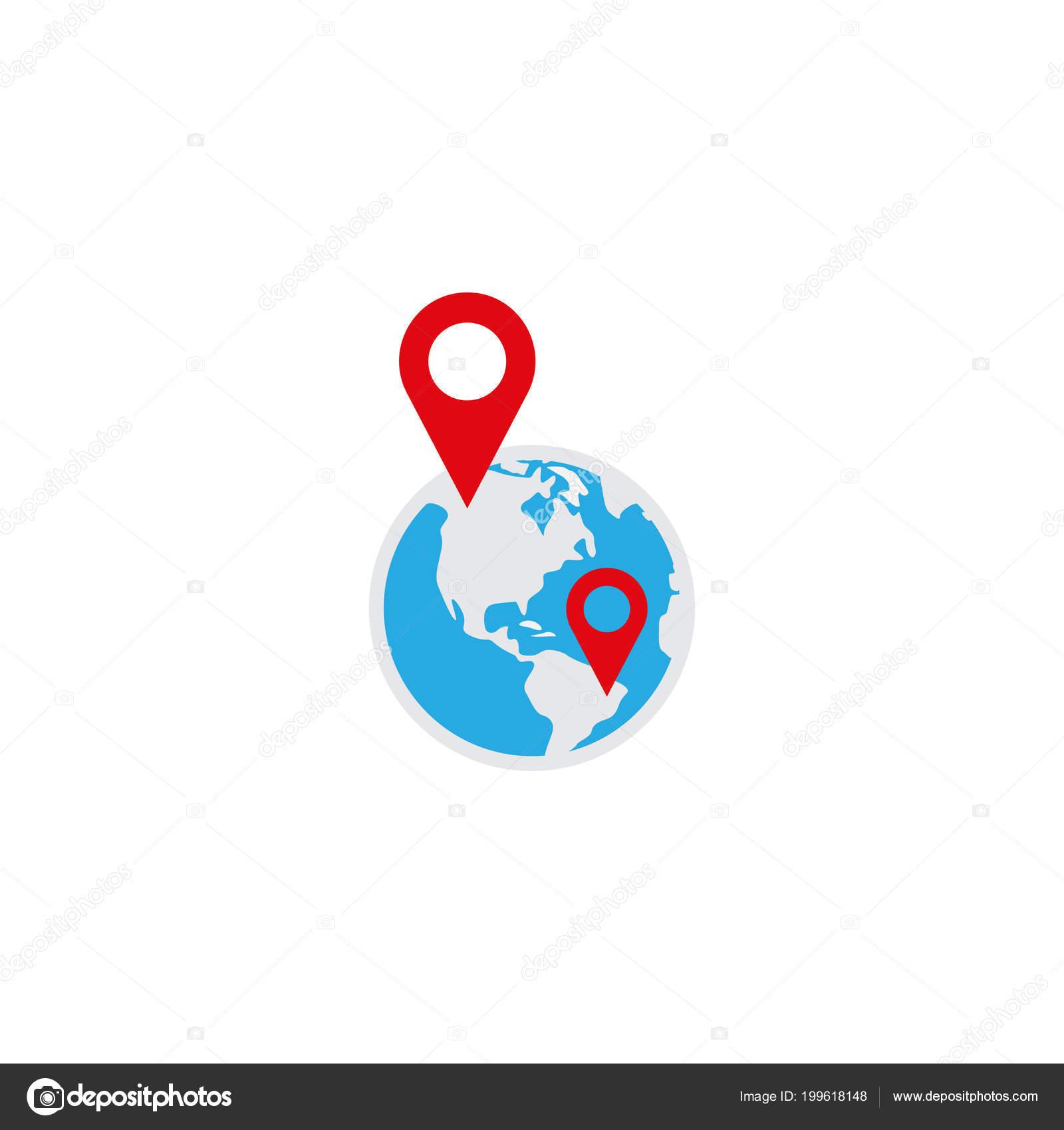 Ilustración Vector Plantilla Diseño Globo Pin Logo Icono — Vector de ...