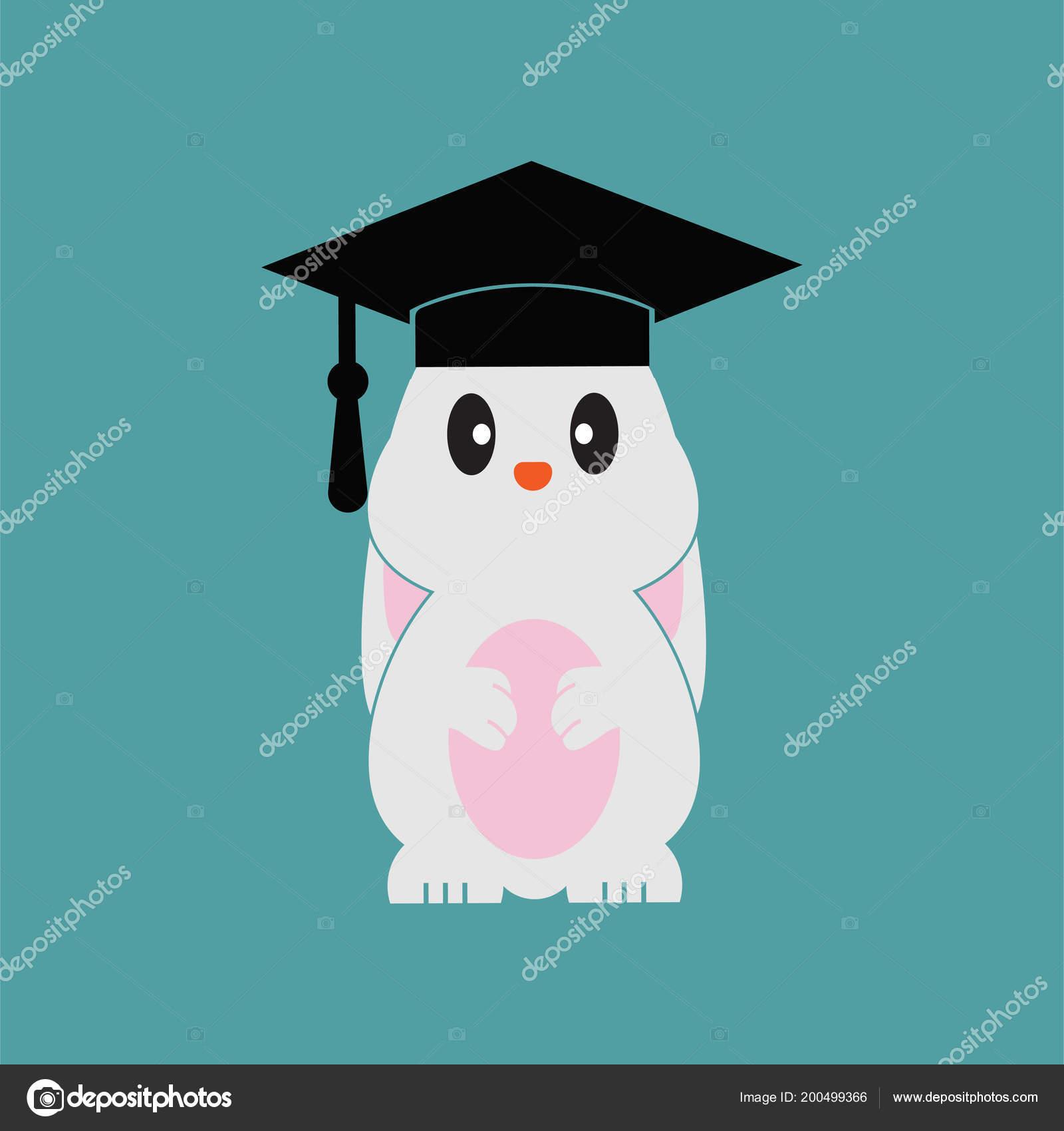 smart bunny wearing graduation cap vector design template stock