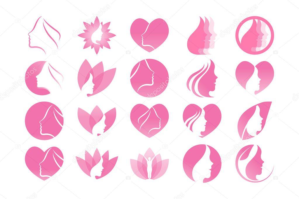 Spa aesthetic girl logo design template vector