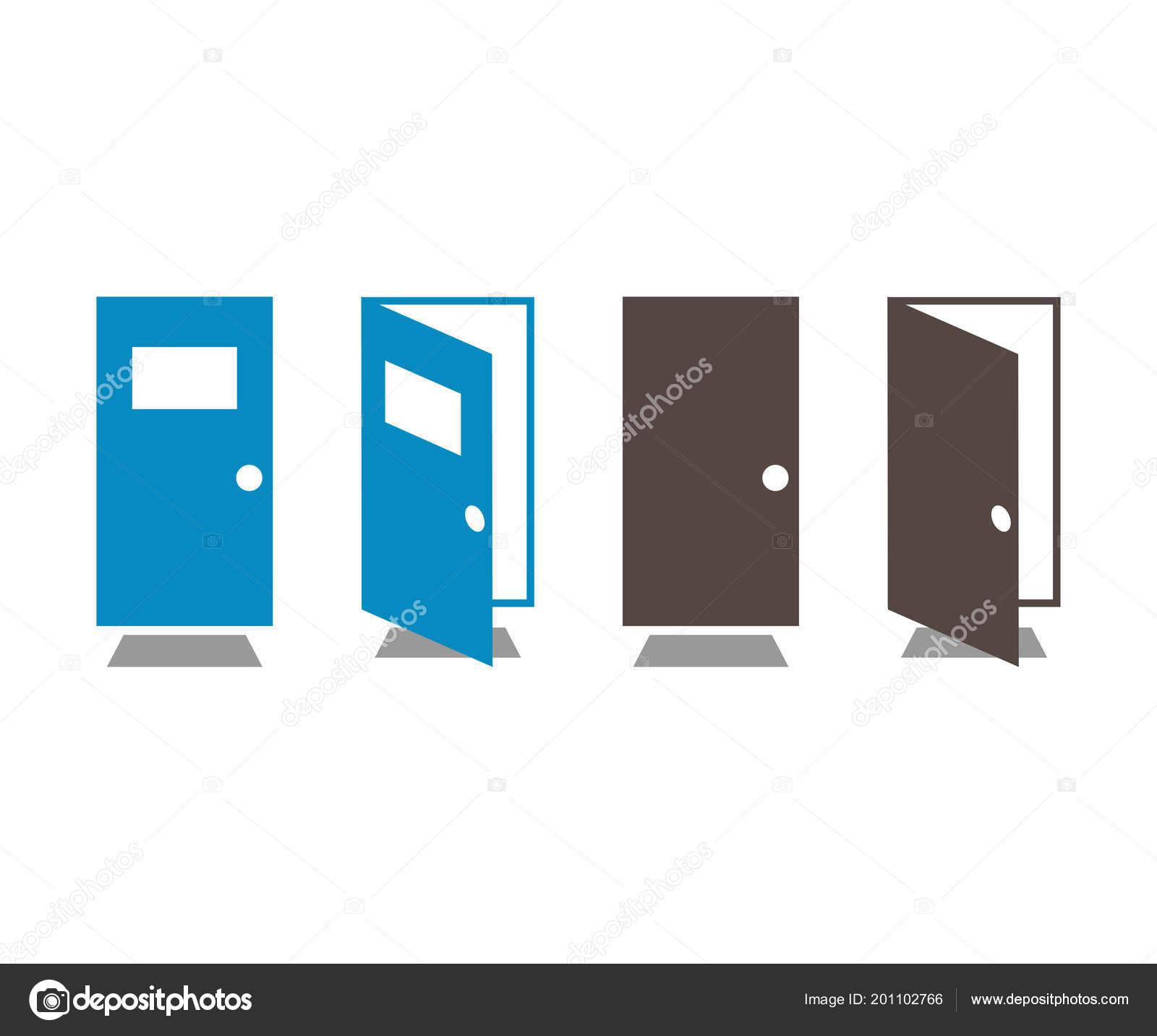 Plantilla Gráfico Del Elemento Apertura Cierre Puerta — Vector de ...