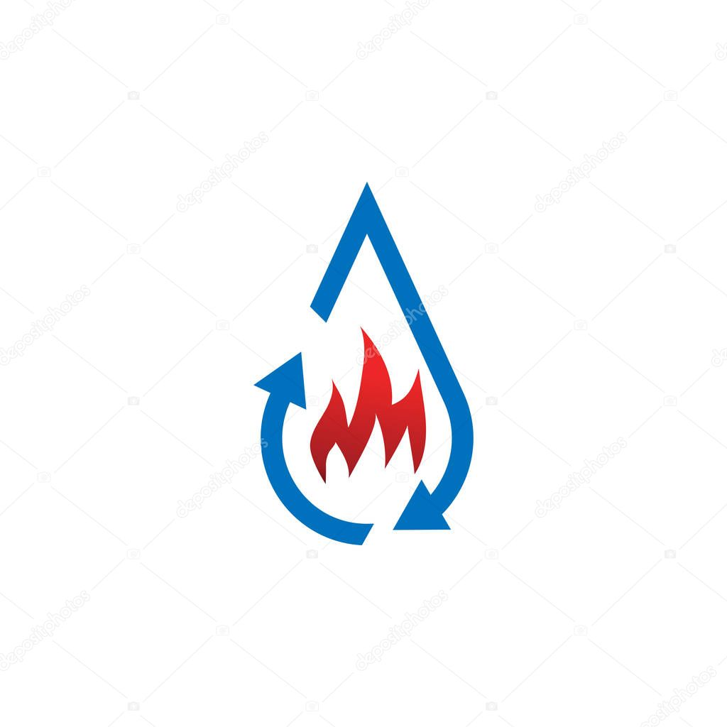Water drop restoration from buning logo template