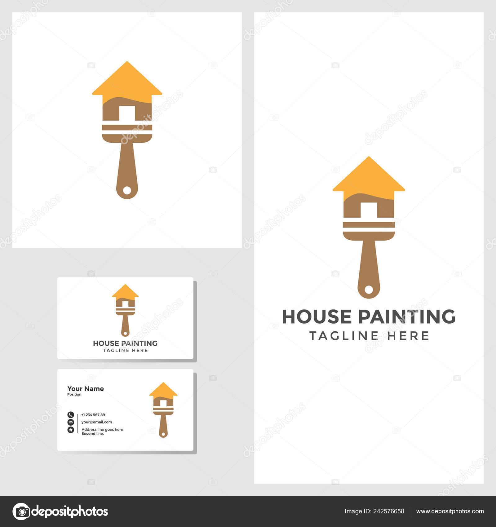 Haus Malerei Logo Vorlage Mit Visitenkarte Design Mock