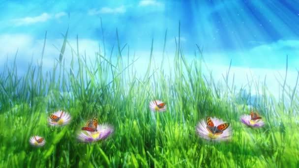 Zelená louka a motýli