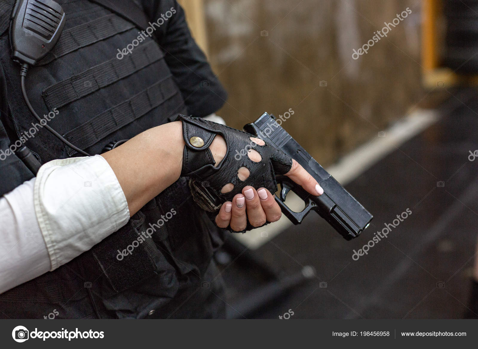 Powerful Woman Holding Gun  War Action Movie Style — Stock