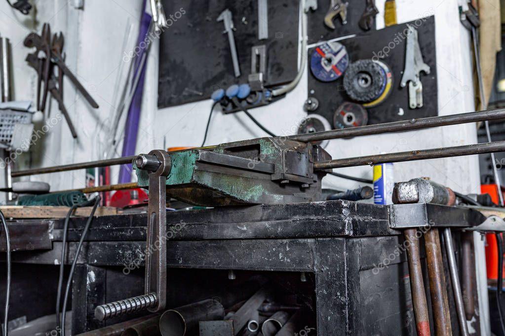 vice grip in workshop