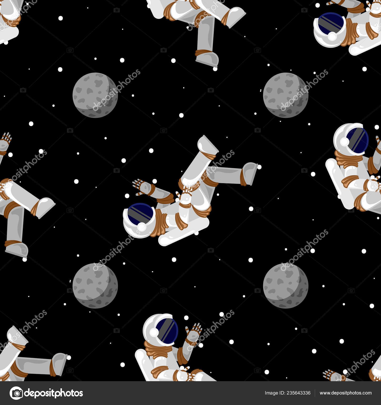 Cartoon Spaceman Wallpaper Cute Funny Cosmonaut Astronaut