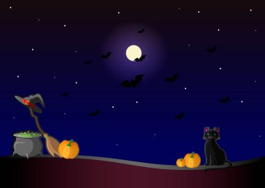 Happy helloween. Vector illustration with witch hat, pumpkin, potion pot, black cat, moon, and broom