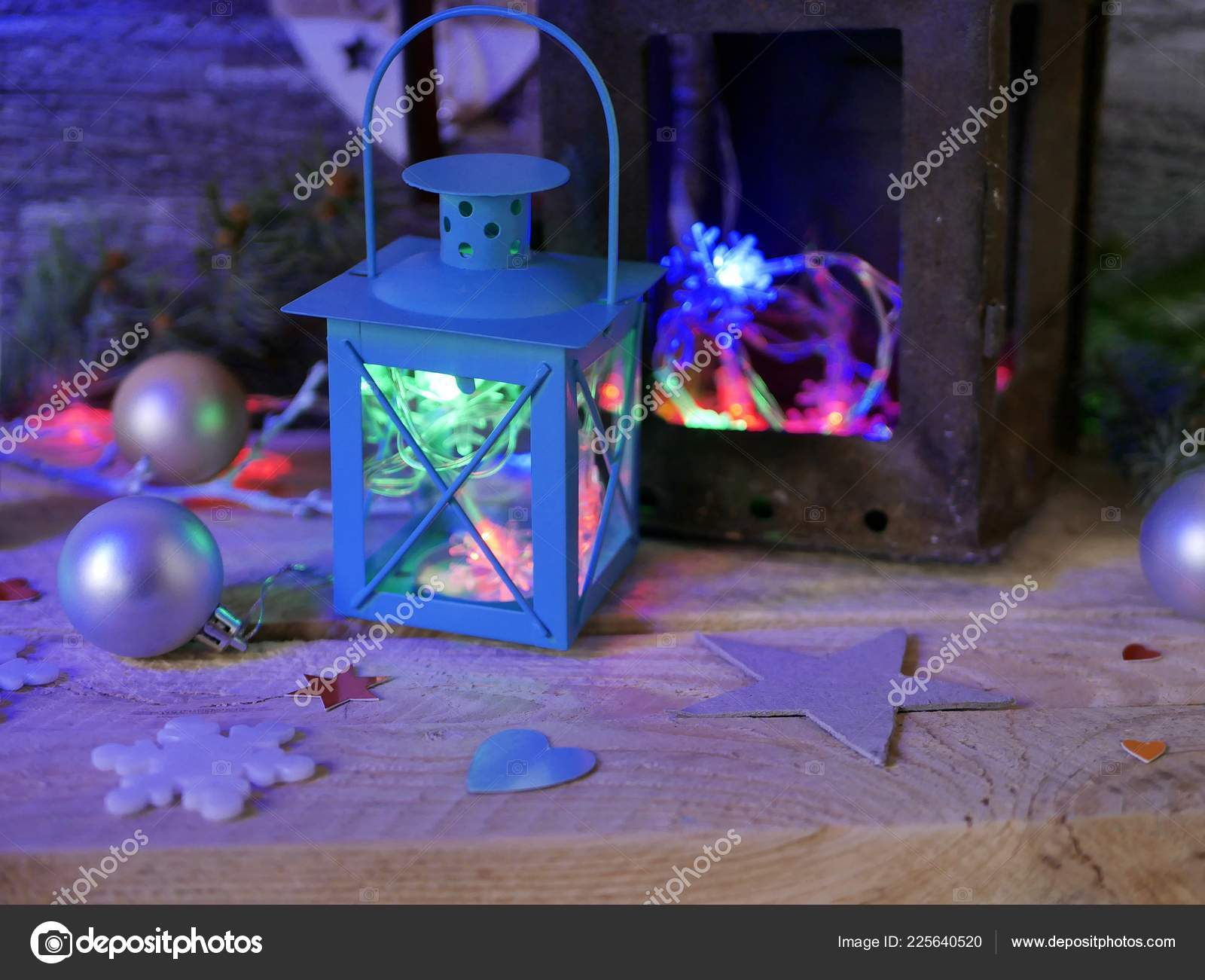 Seasonal Composition Christmas Decor Decorative Lanterns Christmas Tree Illumination Wooden Stock Photo C Tasha28 225640520
