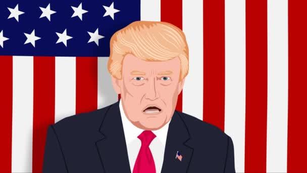 Donald Trump mluví a hrozí rukou na pozadí americké vlajky. Karikatura. Bezproblémová, opakování