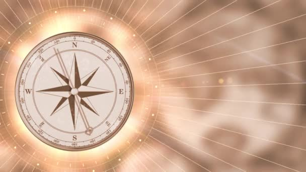 Vintage gold compass on blurred motion background