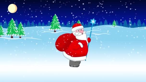 Santa Claus jde s velkým taštička