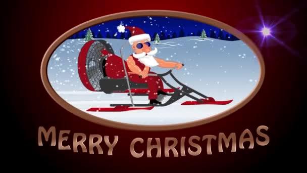 Boldog karácsonyt. Bad Santa Claus-a egy aerosleigh lovagol ajándékok