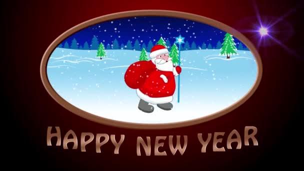 Šťastný nový rok. Santa Claus jde s velkým taštička