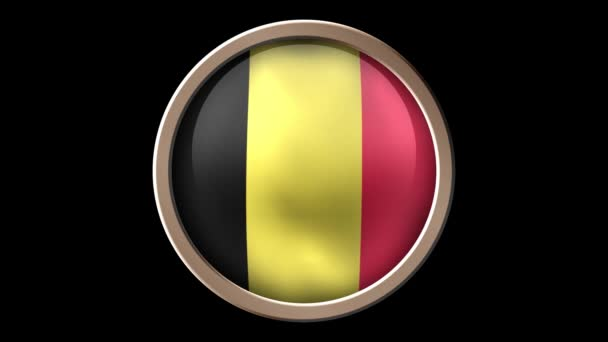 Belgium flag button isolated on black