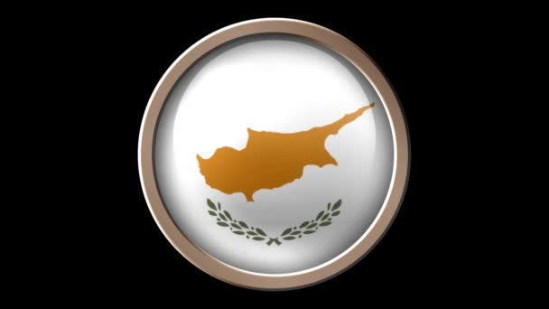 Cyprus flag button isolated on black