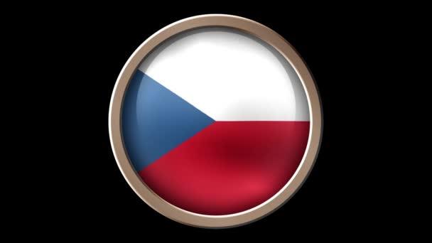Czech flag button isolated on black