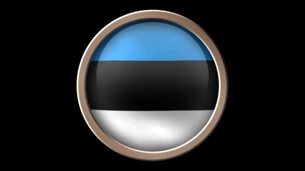 Estonia flag button isolated on black