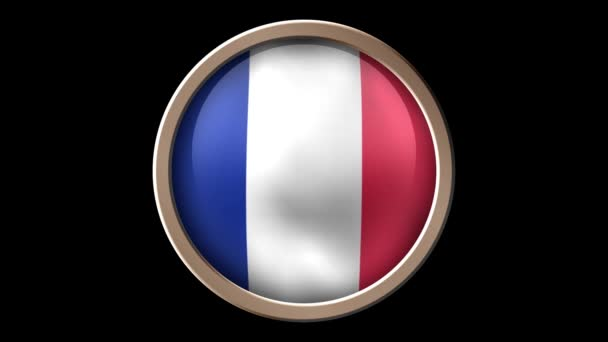 France flag button isolated on black