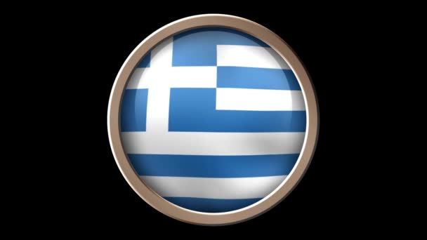 Greece flag button isolated on black