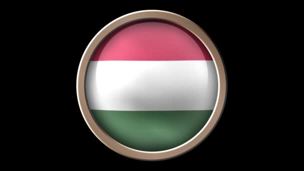 Hungary flag button isolated on black