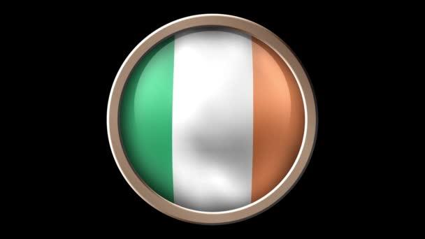 Ireland flag button isolated on black