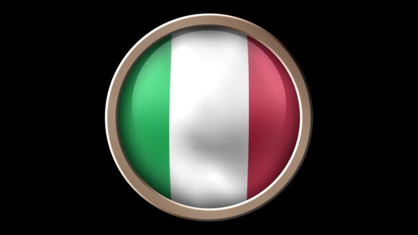 Italy flag button isolated on black