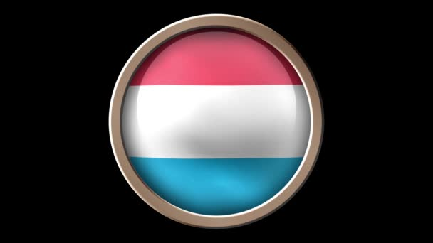 Luxemburg flag button isolated on black