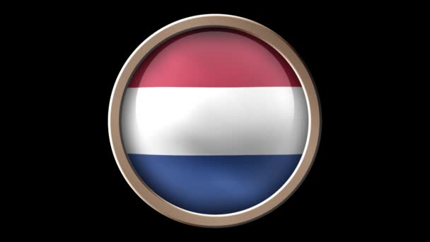 Netherlands flag button isolated on black