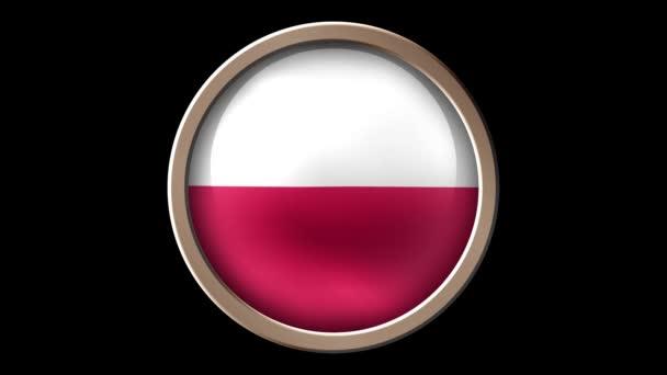 Poland flag button isolated on black